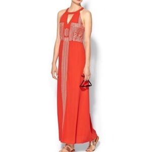 Embroidered Coral Maxi Dress